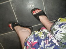 Well Worn Black Leather Thongs/Mules Shoes Summer Sandals Size UK 8