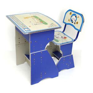 Childrens Kids Boys Blue Desk Table And Chair Adjustable Height Alphabet Design