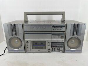 VTG JVC Vintage 80's  Cassette Boombox Ghetto Blaster PC-T5JW Tested Working