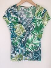 Laura Ashley Green Leaf Print Jersey Top Size 8