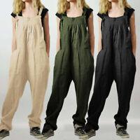 UK Women Baggy Cotton Jumpsuit Dungarees Casual Playsuit Bib Pants Overalls 8-26