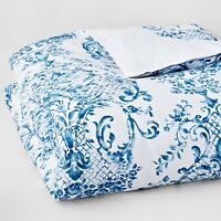 Bloomingdale's Bedding 1872 Elodie KING Duvet Cover White/Blue MSRP $400 D5046