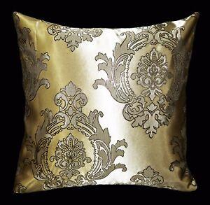 HC305a Light Bronze Gold Deep Brown Floral Jacquard Cushion Cover/Pillow Case
