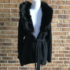 Ralph Lauren Collection Black Faux Fur Trim removable Collar Sweater Size M