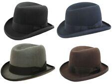 Mens Wool Homburg Hat High Quality Classic Felt Churchill Hat 4 Colours 4 Sizes