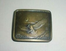 Great Horned Owl Belt Buckle-Descriptive-Rare-V intage 1977-Indiana Metal Craft