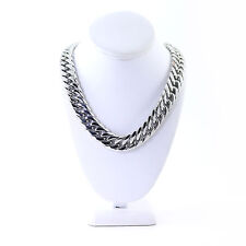 SOLID STAINLESS STEEL SILVER FINISH THICK HEAVY MIAMI CUBAN LINK CHAIN 18MM 36''