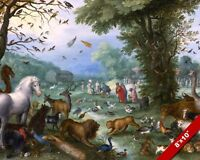 ANIMALS GATHERING FOR NOAH'S ARK PAINTING BIBLE HISTORY ART REAL CANVAS PRINT