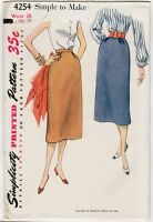 "50s Vintage Sewing Pattern Simplicity 4254 26"" Waist 35"" Hip Slim Straight Skirt"