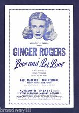 "Ginger Rogers ""LOVE and LET LOVE"" Paul McGrath 1951 Boston Tryout FLOP Flyer"