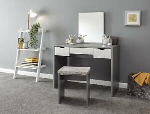 Grey Dressing Table Desk Set With 3 White Drawers Mirror and Velvet Padded Stool