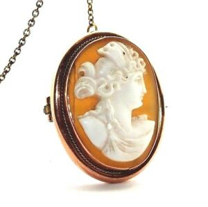 Ladies/womens 9ct 9carat rose gold cameo brooch