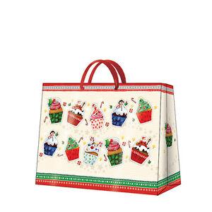 Christmas Printed Paper Gift Present Bag CHRISTMAS CUPCAKES Horizontal / D
