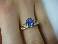 1.17 CT GENUINE TANZANITE IN 14K YELLOW GOLD 0.40 CT T.W. DIAMOND SETTING SIZE 6