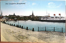 Irish Postcard DUN LAOGHAIRE Kingstown Harbour w Steamer Ferry Dublin Ireland