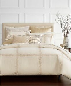 Hotel Collection Embroidered Mosaic Grid Cotton Comforter - FULL / QUEEN - Beige