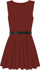 Womens Ladies Belted Sleeve Less Flared Franki Party Skater Dress Wine XXL 20-22