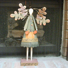 "24"" wood & metal fall autumn harvest angel figurine pumpkin Halloween"