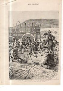 1892 Cowboy camp on the prairie with Mexicans from the Graphic original print -