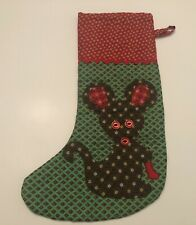 New ListingVintage Christmas Stocking With Holiday Mouse Mid Modern 15inch
