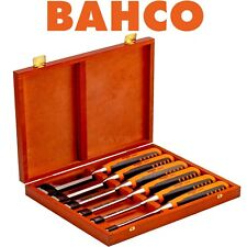 BAHCO Wood Chisel Set 6 Piece Honed Hardened Splitproof In Storage Case 424P-S6