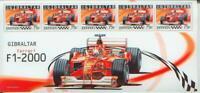Ferrari F1-2000 - Foglietto con 5 francobolli Gibilterra / Gibraltar