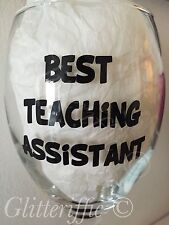 X10 Best Teaching Assistant Black Vinyl Decal Stickers for Wine Glass Mugs DIY