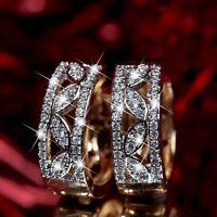 18k yellow gold made with Swarovski crystal huggies classic filigree earrings