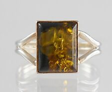 Retro .925 Sterling Silver Baltic Amber Square Ring Size 8.25