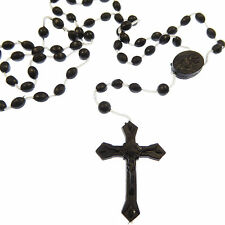 New plastic basic christian rosary beads necklace black