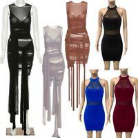 Women's Sleeveless Sexy See Through Mesh Clubwear Bodycon Lace-up Bandage Dress