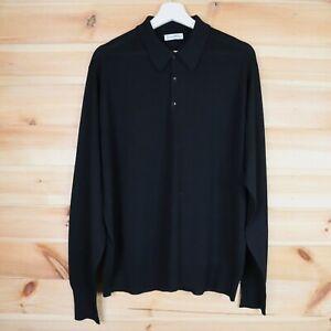 Lea Mills John Smedley Polo Shirt Long Sleeve Black Knit Size Large