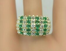 14K Yellow Gold Emerald and Diamond Ring 1.80 CT Wide