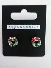 Cute Festive Diamante Christmas Wreath Stud Earrings 1.2 Cms Drop Small Size