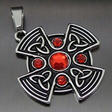 """Celtic Ruby Red Sun Cross Pewter Pendant Free 20"""" Necklace PP#295R"""