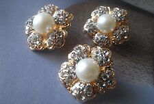 10 Gold Metal Rhinestone Buttons with Ivory Pearl 21 mm Bridal Embellishment G01