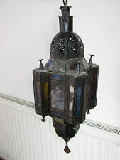 Medium size beautiful Moroccan lamp light shade glass metal antique vintage 23''