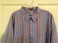 Adesso Men' 4XLT 20-20.5 Shirt Blue Multi Plaid Long Sleeve 100% Cotton Big Tall