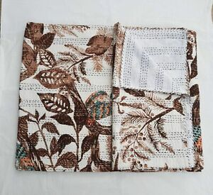 Indian Queen Size owl kantha quilt handmade cotton bedspread bedding blanket