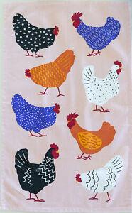 Bright Colourful Hens Chicken Cotton Tea Towel Aussie Design