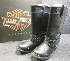 Harley April Ladies Stud Zip Up Motorcycle Pointed Boots Size 7.5 D87047 #C159