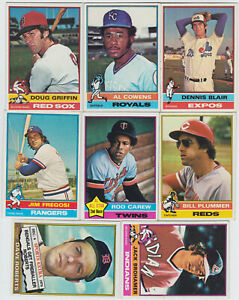 1976 Topps Baseball Cards - 75 Card Lot - VG to NrMt - See List and Scannings