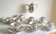 Vintage A.Lanternier Limoges France Porcelain Roses Flowers 15 Piece Tea Service