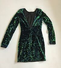 Women's Deep-V Mini Dress Sequin Mermaid Color Changing Blue Green Size Small