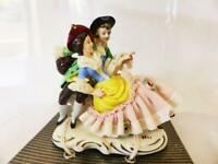 Dresden Art Sculpture, Courting Couple, Porcelain Lace Figurine, Germany 1940's