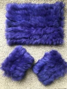 Marc Cain Collar And Cuff Set Real Fur Purple