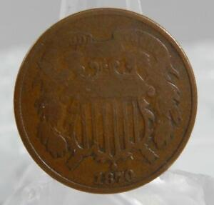 1870 Two Cent Piece 2 Cents 2C Coin C2695