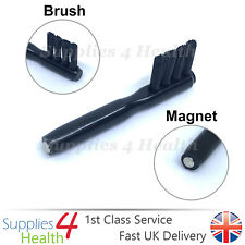 2 in 1 Hearing Aid Cleaning Magnet Brush Wax Battery Insert Tool Multipurpose
