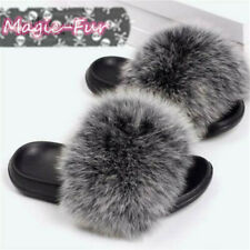 Real Fox Fur Slippers Vogue Fluffy Fur Sandals Trendy Slides Flat Shoes