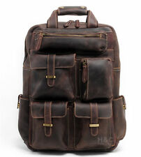 Men's Real Leather Backpack Travel Weekender Laptop Carry On School Hiking Bag